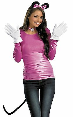 Minnie Mouse Costume Kit Pink Disney Ears Gloves Tail Mickey - Fast Ship - (Mickey Mouse Kostüme Accessoires)