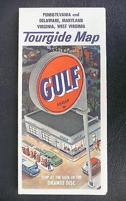 1962 Pennsylvania Delaware Maryland Virginia west Virginia road map Gulf oil gas