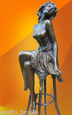 ART DECO, BRONZE Michelle SIGNED BRONZE STATUE FIGURE FIGURINE NUDE STATUETTE