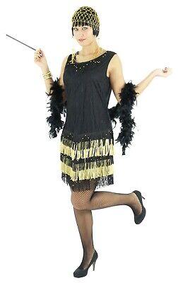 20er Jahre Damen Kleid Charleston Kostüm Mafia Can - Gold Kostüm Kleid