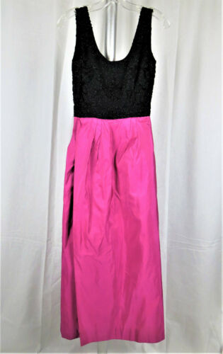 Vintage 1960's Pierre Cardin Black Beaded and Pink Evening Gown