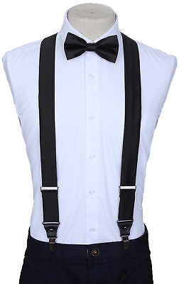 Marino Suspenders and Bow Tie Set, Dress Suspenders For Men, Silk-Like Pants