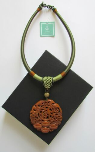 "NEW S J PEARL Nephrite Jade Hand Carved Necklace w Silk Cord ""HAPPINESS"""