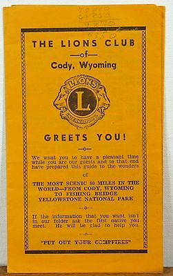 1940's - 50's The Lions Club Cody Wyoming brochure travel guide to Yellowstone b