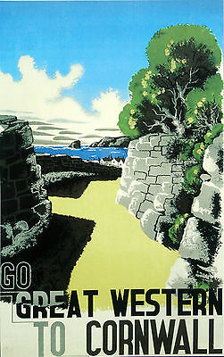 """CORNWALL""   Vintage Art Deco Railway/Travel Poster A1,A2,A3,A4 Sizes"