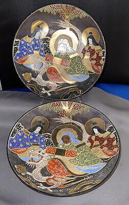 Satsuma plate 10 diameter crackle glaze gilded geisha scene heavy quality oriental decor pottery plate Japanese ceramics famille rose
