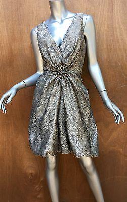 Bruce Oldfield bronze dress, mini cocktail, sleeveless, metallic, deep-V Sz 12