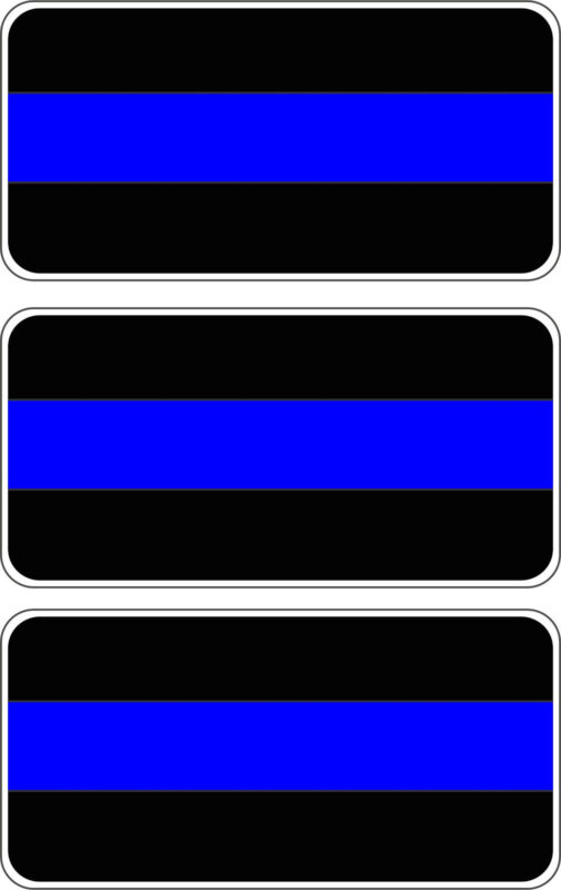 Thin Blue Line Badge Bar Shield Decal Stickers 3 PACK FREE SHIPPING!