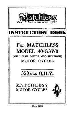 1940 Matchless Model 40-G3WO instruction book