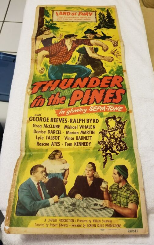 Vintage Thunder In The Pines Theater Insert w/Reeves/Byrd (Pre-Owned) Rare!