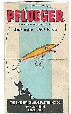 Vintage 1951 PFLUEGER Bait Action Fishing Lures Advertisement Brochure Akron OH
