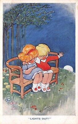 """H Cowham~""""Lights Out""""~Children on Bench Wave Good-bye to Moon~Inter-Art Co~c1914"""