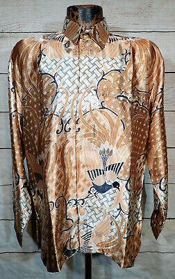 Batik Kresna Silk? Wax Process Men's Indonesian Gorgeous Art Print Shirt sz L