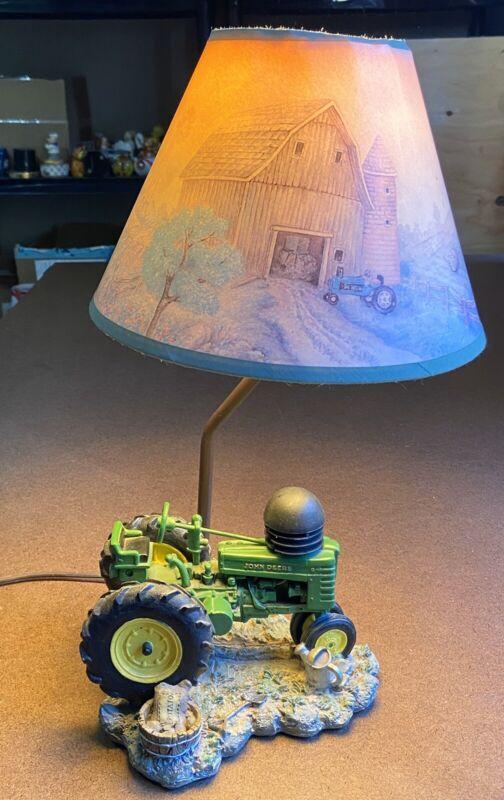 Authentic John Deere Tractor Resin Figure Children's Lamp w Original Shade RARE!