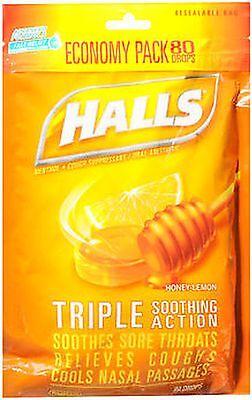 Halls Cough Drops HONEY LEMON Menthol 80 Ct JUMBO BAG