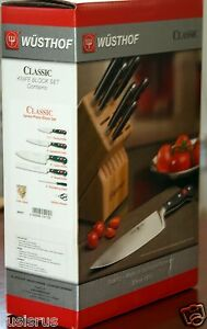 NEW AUTHENTIC WUSTHOF CLASSIC 7-PIECE KNIFE BLOCK SET #7417 SEALED FAST SHIPPING