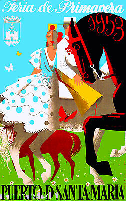 1953 Feria de Sevilla Fair of Seville Spain Vintage Travel Advertisement Poster
