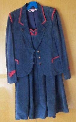 Orginal ALPHORN Trachten-Kostüm Jacke und Rock Leder blau mit rot Gr 40 / - Kostüm Mit Leder Jacken