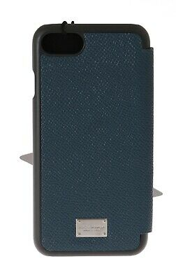 NEW $300 DOLCE & GABBANA Phone Case Blue Dauphine Leather Silver Logo iPhone7