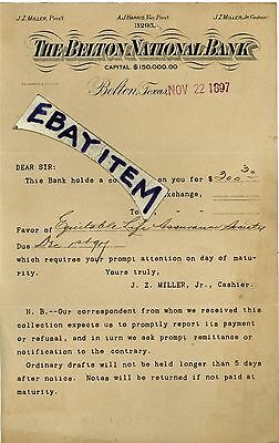 1897 Letterhead BELTON NATIONAL BANK 3295 Texas J Z MILLER A J Harris G BARNARD