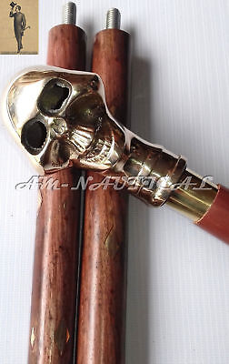 Vintage Antique Skull Head Brass Handle Walking Cane Wooden Stick Style New Gift