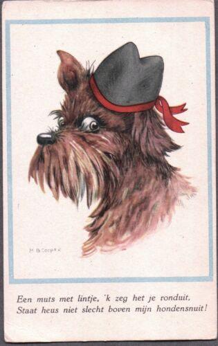 VINTAGE LITHOGRAPH ARTIST SIGNED M.B. COOPER NORFOLK TERRIER GERMAN DOG POSTCARD