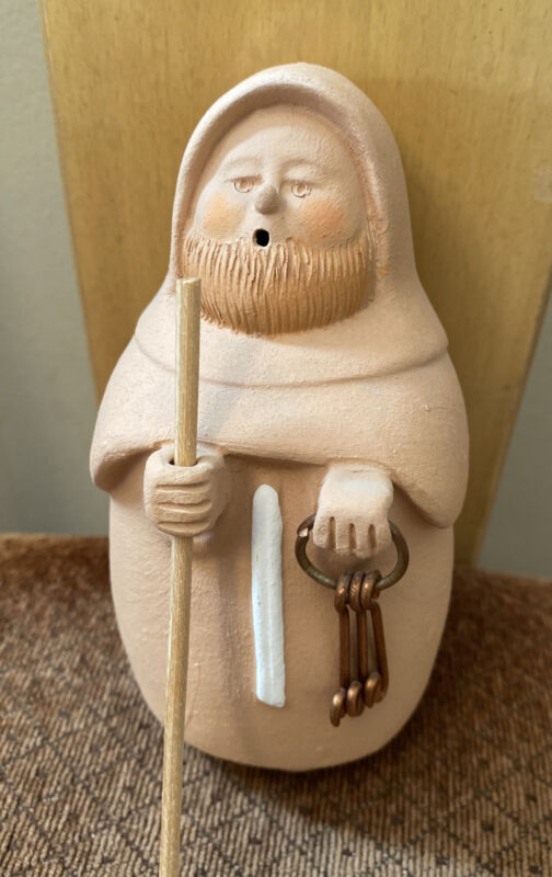 Sermar Chile Monk Figurine Terracotta Clay Folk Art Holding Keys