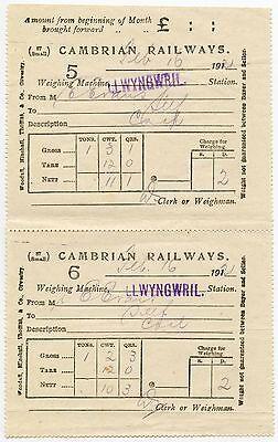 RAILWAY 1921 CAMBRIAN WALES LLWYNGWRIL STATION COAL RECEIPTS 5 + 6