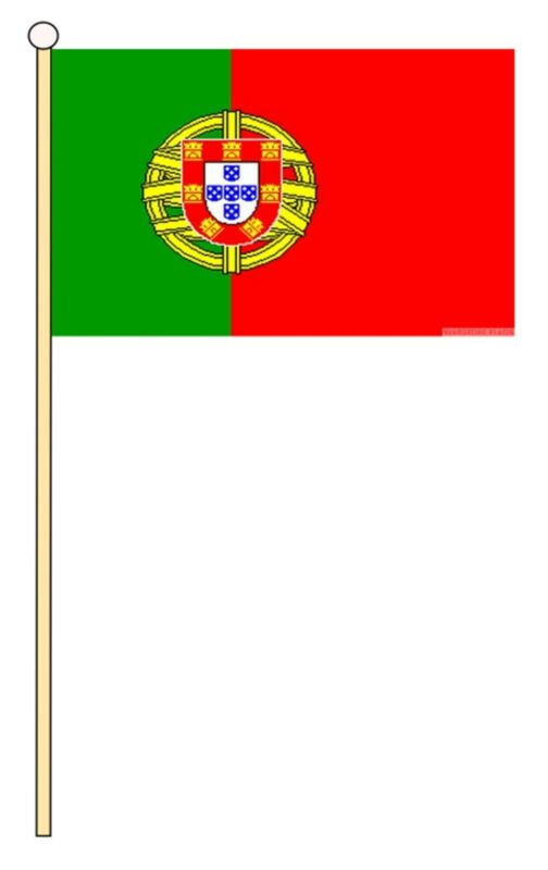 "PORTUGAL 18"" x 12"" LARGE HAND WAVING COURTESY FLAG & POLE PORTUGUESE"