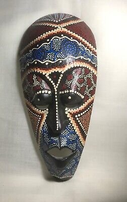 INDONESIA. CARVED DECORATED  FACE MASK WALL HANGER