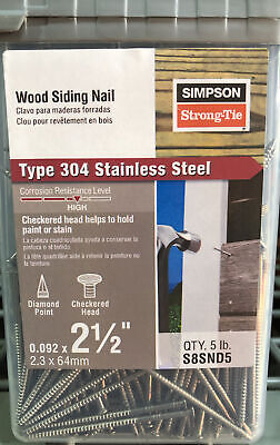 Simpson Strong-tie 5 Stainless Steel 8d X 2-12 Siding Nail S8snd5