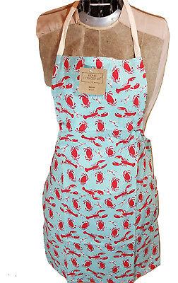 Lobster Crab Cotton Kitchen Chef's Apron Sea  Ocean Print Pattern Fashion BBQ Chef Apron Pattern