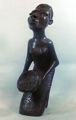 Makonde Hand Carved African kneeling woman with bowl  5 inches or 13.5 cm