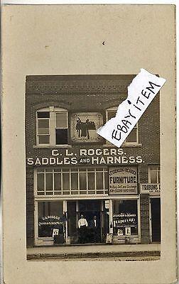 1905 RPPC real photo post card C L ROGERS Stamford Texas SADDLE MAKER Saddlery