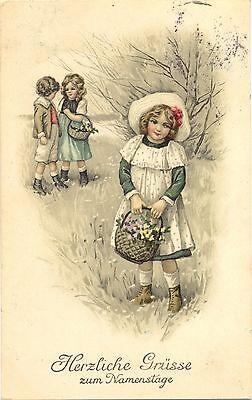 Namenstag, Kinder, Blumen, Wiese, um 1910/20