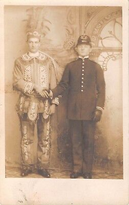 c.1910 Studio RPPC Boys in American Indian & Policeman Halloween ? Costumes (Boys In Halloween Costumes)