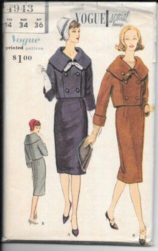 Vintage Vogue Special Design 1950s Mod Suit Pattern 4943 with Label Uncut 14