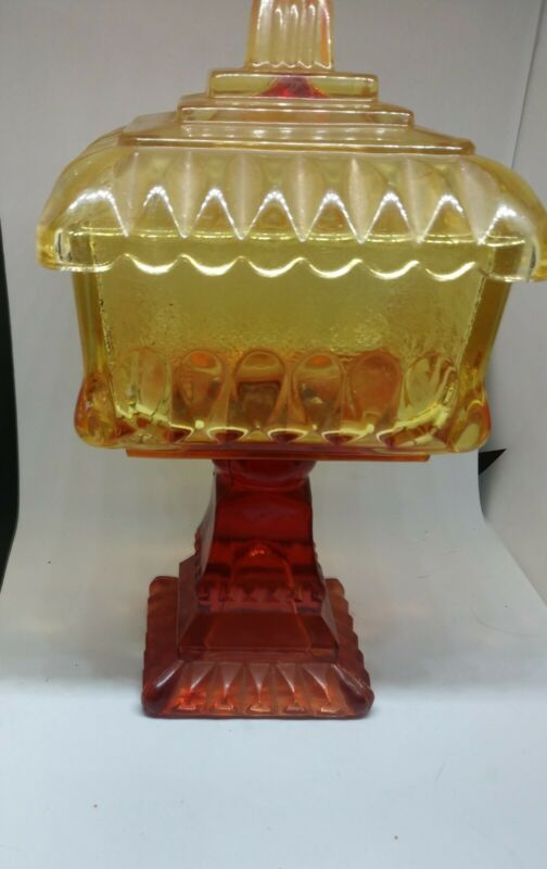 Vtg Carnival Glass Amberina Candy Dish Lid Compote RedYellow Orange Square