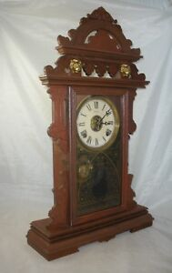 Antique Welch Parlor Clock, Mantel / Shelf / Kitchen w/ Lion Heads