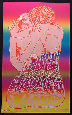 BG-39 JEFFERSON AIRPLANE MOBY GRAPE 1966 Fillmore Concert Poster 3rd Printing