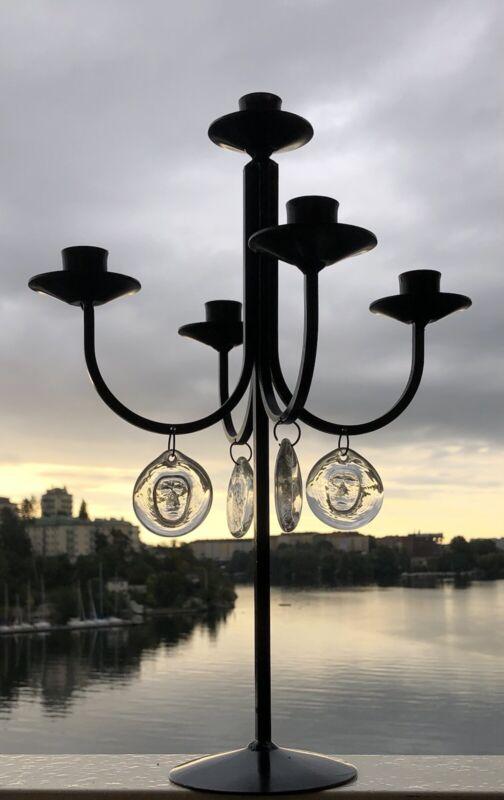"ERIK HOGLUND KOSTA BODA Candle Holder Iron With Glass Face Medallions,1950, H16"""