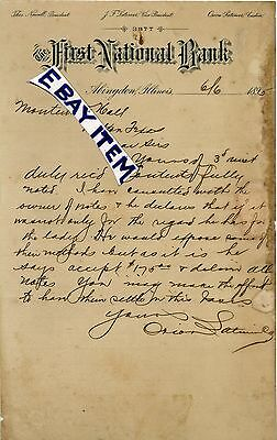 1895 First National Bank Letterhead Abingdon Illinois Orion Latimer Thos Newell