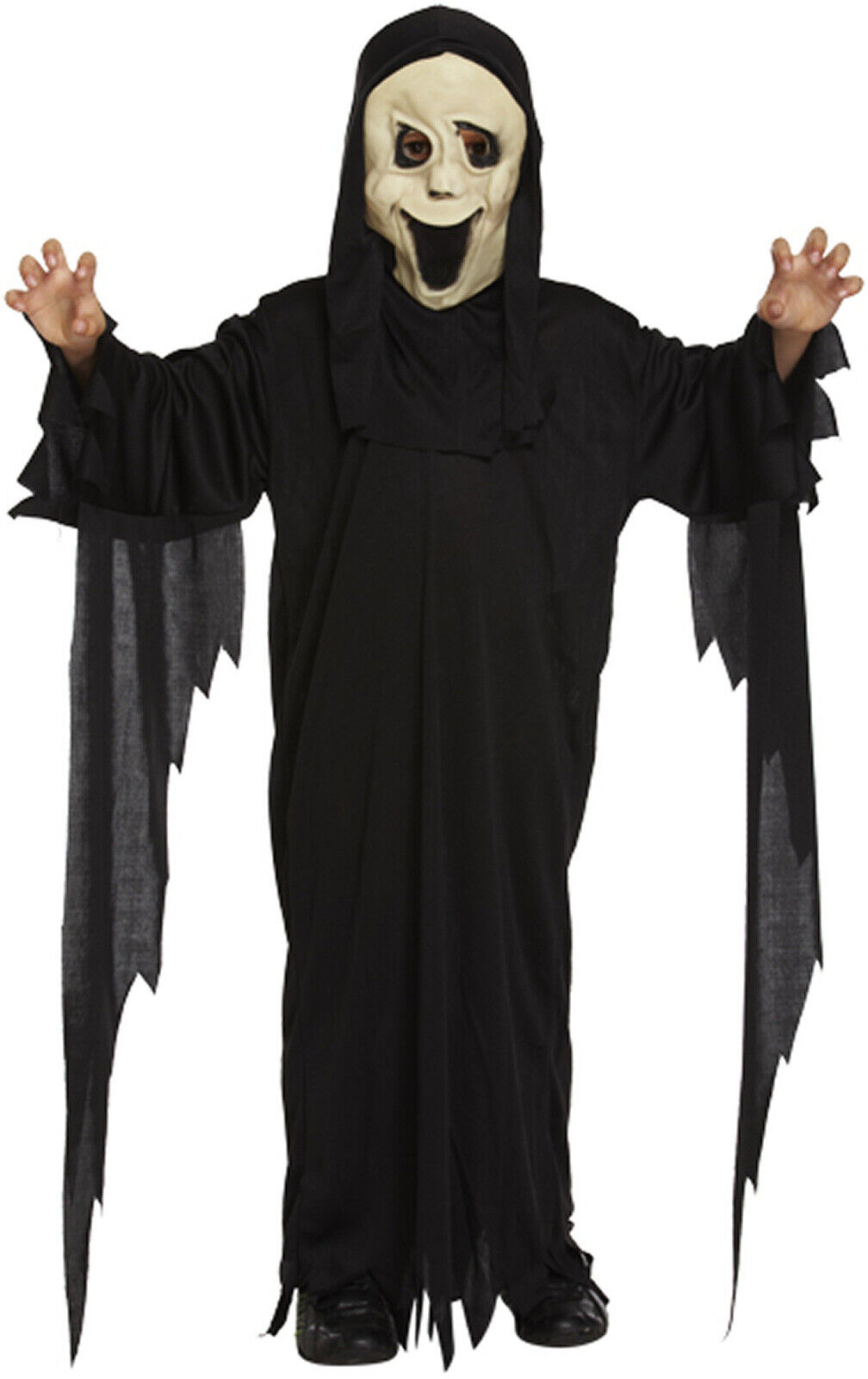 Boys Girls Kids Childs Scream Robe and Mask Halloween Fancy Dress Costume Outfit