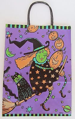 1 Halloween Trick Treat Bag Loot Candy Paper Gift Bag 2001 Witch Purple 13.5""