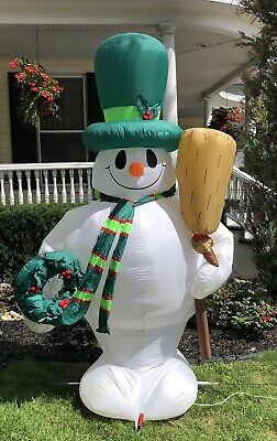 Rare Vintage Gemmy Frosty The Snowman 8 Ft Wreath Airblown Inflatable Christmas