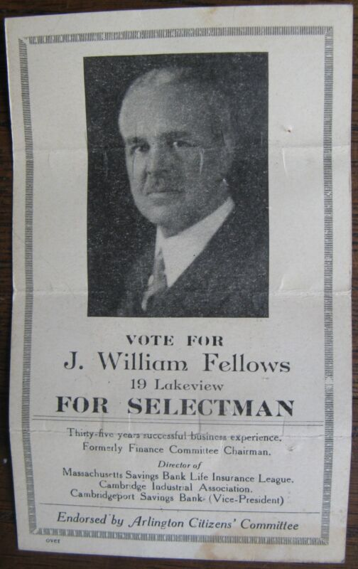 Arlington Ma. Vote for J. William Fellows Advertising Card