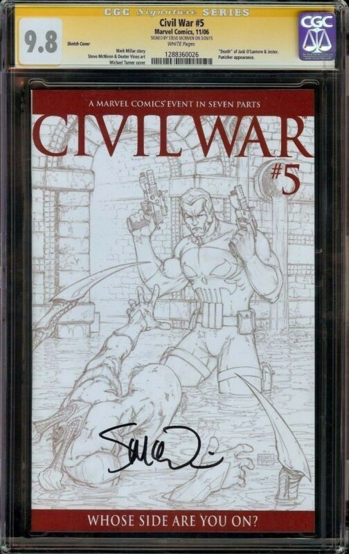 CIVIL WAR #5 SKETCH COVER CGC 9.8 SS PUNISHER APPEARANCE! SIGNED MCNIVEN! MOVIE!