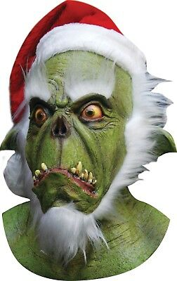 Halloween Christmas THE GRINCH GREEN SANTA Latex Deluxe Mask Haunted House - Grinch Halloween