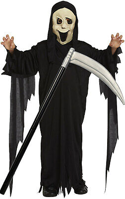 Boys Girls Kids Childs Scream Robe and Mask Halloween Costume Outfit with Scythe - Girl Scream Costume