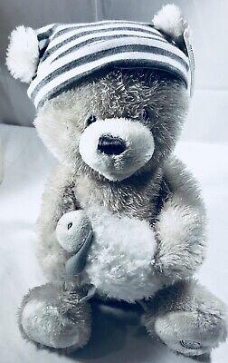 Baby Gund Sleepy Time Bear Plush Gray Stripe Hat Music Kisses Goodnight Nursery ()